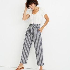 Madewell Paperbag Pants in Deep Indigo Stripe NWOT